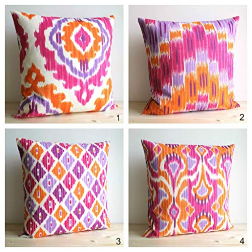 Ikat-sham (EstherBur87 18 x 18 inch 45 x 45cms Orange and Pink Ikat Pillow Cover Ikat Cushion Cover Pillow Sham Pillow Covers Accent Pillows Ikat Tangerine Collection)