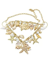 Sanwood Ozean-Art Multi Seestern Sea Star Seestern Conch Shell Perlen Starfish Kette Necklace