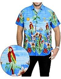 La Leela manches courtes Coupe droite hawaïen bouton camp caribbean de aloha plage hommes Chemise xs bleu - 5xl