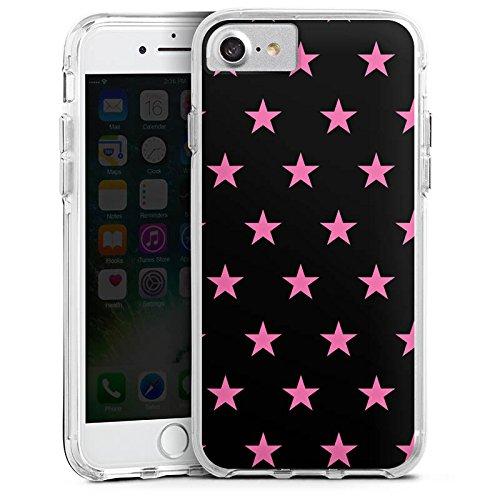 Apple iPhone X Bumper Hülle Bumper Case Glitzer Hülle Stars Sterne Muster Bumper Case transparent