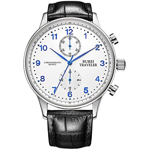 BUREI Herren Chronograph Uhren Business Quarz Kleid Uhren mit schwarzem Zifferblatt römische Ziffern Display und Lederarmband (Blau-A)