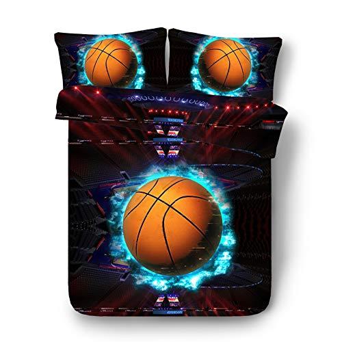 Ruixinshi 3pcs Bettbezug Sets,HD Digital 3D Polyster Reaktivdruck Bettwäsche-Set,Basketballplatz, Zweibettzimmer Bettwäsche (Bettwäsche Für Kinder, Zweibettzimmer)