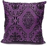 Damask flock stampa finta seta cuscino Pillow case Purple