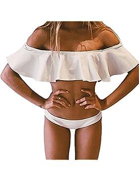 Chic Insieme del Bikini Costume da Bagno 2 pezzi Spalle Nude Frilly per Donne Bimba Spiaggia Estiva - Koobea