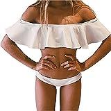 Chic Bikini Set Maillot De Bain 2 pièces Epaule Nu Froufrous Pour Femmes Fille Plage Ete Koobea