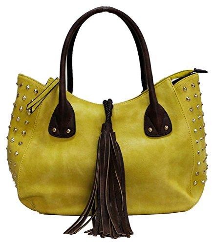 Kukubird Patrice Ecopelle Con Nappa & Stud Dettaglio Top-manico Tracolla Tote Handbag Yellow