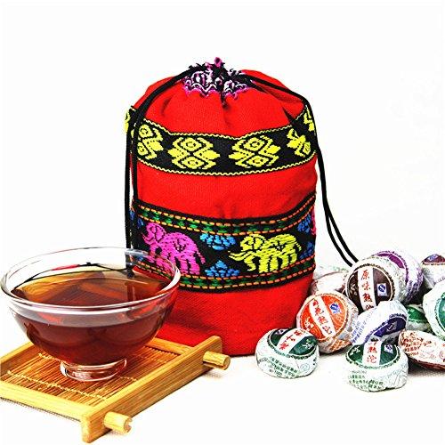 Yeshi 250g 10 Flavors 50 Pcs Chinese Yunnan High Quality Puerh Tea Ripe Mini Black Tea eith Cloth Bag