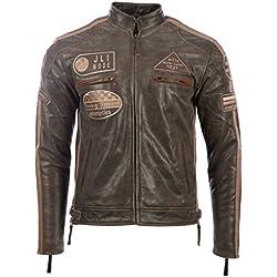 Véritable veste de motard en cuir pour hommes avec col de bande et badges par MDK, Marron (Desert Tan), XX-Large / 2XL / Poitrine=44 Inches