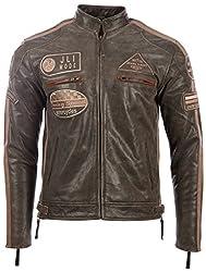 Herren echtes Leder Bikerjacke mit Bandkragen und Rennabzeichen von MDK, Marron (Desert Tan), 5XL