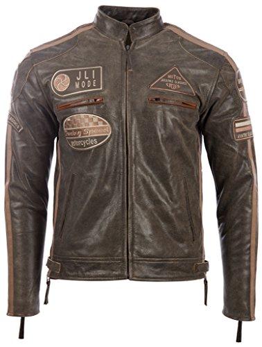 Herren echtes Leder Bikerjacke mit Bandkragen und Rennabzeichen von MDK, Desert Tan,  L