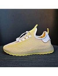 Zapatillas deportivas transpirables para mujer, versión coreana, de The Wild Student, informal, callejero, calcetines para mujer (color amarillo)