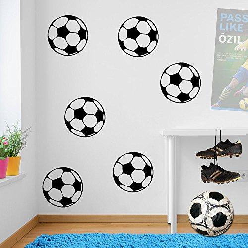 Fußball-Wandaufkleber, Wandtattoo, Wanddekoration, Abziehbild, Fenster-Aufkleber, Dekor, Wandbild, bunt, Sticker, Vinyl, Schwarz , Small (Fussball-fenster-abziehbild -)