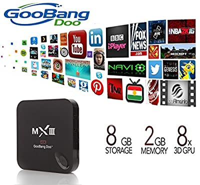GooBang Doo MX3 MXIII Plus Android TV Box Newest CPU Amlogic S812 Fully Loaded Add-ons Newest KODI 2GB RAM 8GB ROM with GooBang Doo Cleaning Cloth and Customer Support Card
