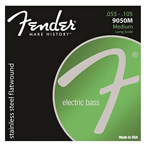Fender 9050-M Stainless Steel Flat Wound Bass Guitar Strings 55-105
