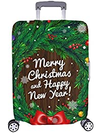 748e873a6 Tarjeta de Navidad Guirnalda de Navidad Lazo Rojo Patron Spandex  Staubschutz Trolley Protector Case Case Viaje