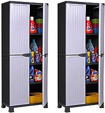 """Hier passt viel rein: 2 Stück Kunststoffschrank Modell""""Noble"""". Jeder Schrank mit 3 höhenverstellbaren Einlegeböden, 4 Füßen und abschließbaren Türen! Maße pro Schrank: 68 x 40 x 171 cm"""