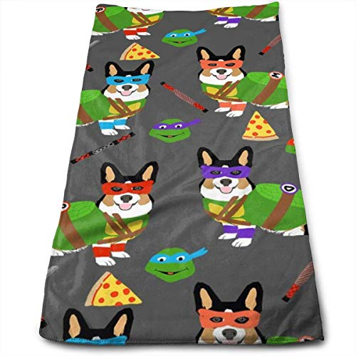 fhjhfgjghfjghfj Tri Corgi Ninja Turtle - Dog, Dogs, Cartoon, Costume, Halloween - Charcoal Handtücher Dishcloth Floral Linen Handtücher Super Soft Extra Absorbent for Bath,Spa and Gym 11.8
