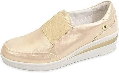 Valleverde 18151 Mocassini Zeppa Scarpe Slip-on Donna in Pelle Oro