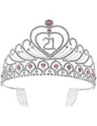 Frcolor 21st Birthday Tiara Crystal Rhinestone Women 21st Birthday Crown with Combs (Silver Pink)