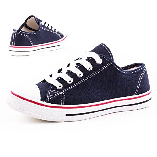 Damen Sneaker Low Top Schuhe Canvas Textil Modell 3: Dunkelblau