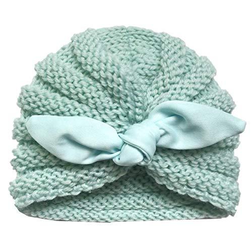 Wovemster Kinder Gestrickte Kappe Warm Gefütterte Wolle Baumwollkappe Wintermütze mit Kaninchen Ohren Form Fleece Mütze,Mint Green
