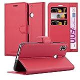 Cadorabo Hülle für HTC Desire 10 Pro - Hülle in Karmin Rot – Handyhülle mit Kartenfach und Standfunktion - Case Cover Schutzhülle Etui Tasche Book Klapp Style