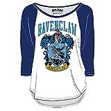 Harry Potter Damen Longsleeve Ravenclaw Wappen Distressed weiß blau - S