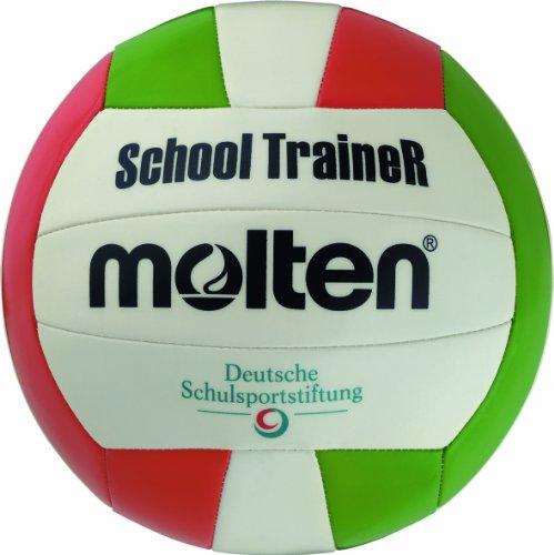 Molten School Master Volleyball Größe 6 Ball, Weiß/Grün/Rot, 5