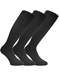 Mens 3 Pack Long Ribbed Antimicrobial 100% Cotton Comfy Grip Socks