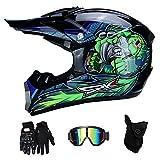 RAON Motocross Moto Casques de Moto et Gants & Goggles Certification D. O. T Quad Bike ATV Go Karting Casque,BlueTropical,S(52~53cm)
