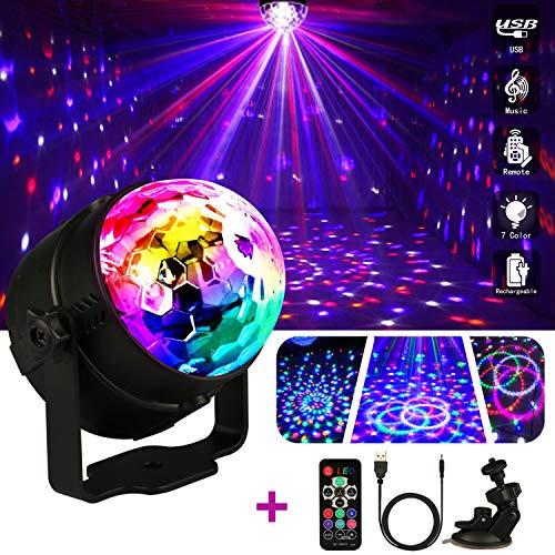 Disco Licht Discokugel,Emooqi 7 Modi RGB LED Bühnenbeleuchtung Party Lichter mit Fernbedienung + Musik aktiviert+4M USB Kabel+360°Rotierenden Beleuchtungseffekt für Kids Geburtstag Party Weihnachten