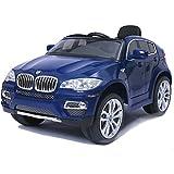 SIMRON-BMW X6 SUV Elektro Kinderauto Kinderfahrzeug Ride-On 12V Kinder Elektroauto -blau-