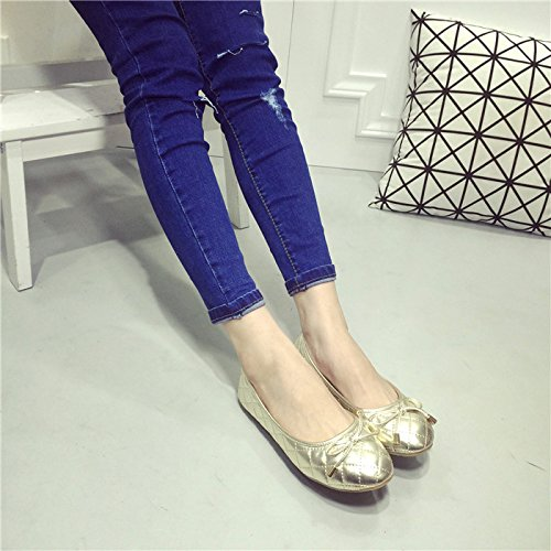 WYMBS Nouveau motif à carreaux ronde peu profonde bouche bow peu profondes avec travail noir chaussures femmes chaussures plates unique Gold