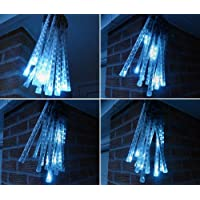 LEDER® WHITE CONNECTABLE LED METEOR SNOW FALL / ICICLE LIGHTS ** FANTASTIC ITEM FOR CREATING A SNOWING EFFECT - GREAT OUTDOOR CHRISTMAS XMAS LIGHTS **