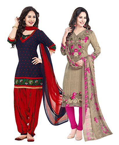 Ishin Combo of 2 Synthetic Multicolor Party Wear Wedding Wear Bollywood New...