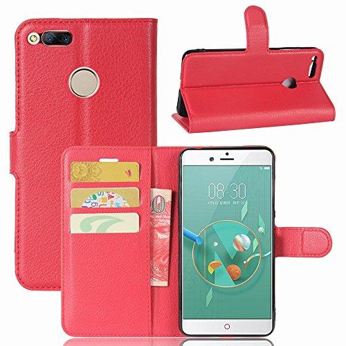 ZTE Nubia Z17 mini Handyhülle Book Case ZTE Nubia Z17 mini Hülle Klapphülle Tasche im Retro Wallet Design mit Praktischer Aufstellfunktion - Etui Rot