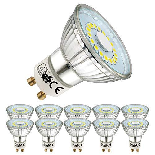 EACLL Lot de 10 ampoules LED GU10 Blanc froid 6000 K 470 lm Équivalent de 50 W Angle d'éclairage 120°