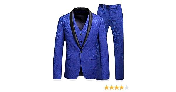 Sunshey 1 Button Men Shawl Lapel Tuxedo Dinner Suit 3 Piece Slim Fit Tux Jacket Trousers and Waistcoat