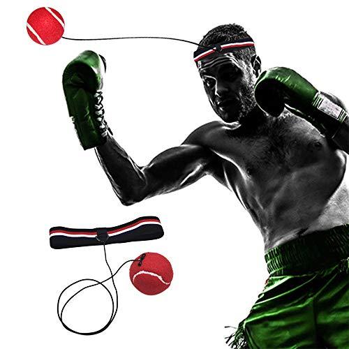 DAZISEN Boxen Training Ball - Training Hand Augen Koordinations Boxen Reflexball mit Stirnband,Tricolor Stirnband+Rot Kugel -