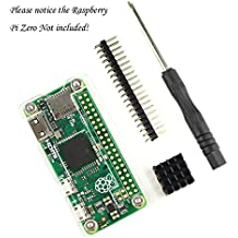 Kit para Raspberry Pi Zero (carcasa transparente de plástico acrílico, pin GPIO macho, disipador de calor de aluminio negro y destornillador pequeño; Raspberry Pi Zero no incluida) transparente