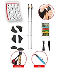 ATTRAC - Bastoncini nordic walking con sistema telescopico, anti-shock e ammortizzante - Lunghezza regolabile da 69 fino a 139 cm - 4 tacchetti di ricambio + 2 piastre incluse nella confezione (Click & Go)
