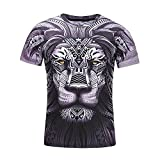 QUINTRA Herren T-Shirt Schädel 3D Druck T-Shirts Kurzarm T-Shirt Bluse Tops (Schwarz 33, 3XL)
