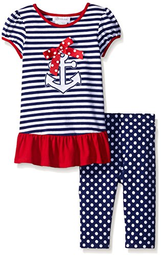 Bonnie Jean Girls Nautical Appliqued Knit Dress and Legging Set