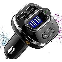 VICTSING Transmisor FM Bluetooth 4.1 para Coche,Mini Manos Libres Emisor,AUX Salida,Radio Adaptador y Reproductor de MP3,USB Cargador de Coche sin Instalacion,Tarjeta TF,para Móviles,Tablet,etc