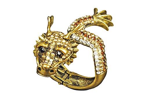 Armspange goldener Drache mit glitzernden Steinchen - Schmuck zum Kostüm China Chinesin - Chinesicher (China Kostüm Schmuck)