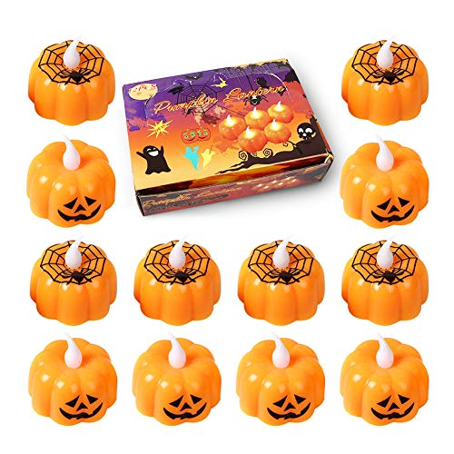 OCMCMO 12 Set Halloween LED Mini Kerzen orange schwarz Kürbis Lights Halloween-Kürbislaterne Lichtern für Tolle Haunted House Halloween Dekoration (4 Verschiedene Formen Gelegentliche)