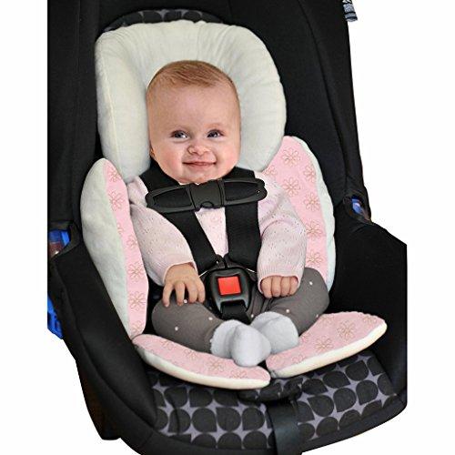 Vine Bebé Acolchado,Protector de cuerpo para coche,Colchoneta reversible para silla de paseo universal para bebés,Funda reversible silla de coche(rosa)