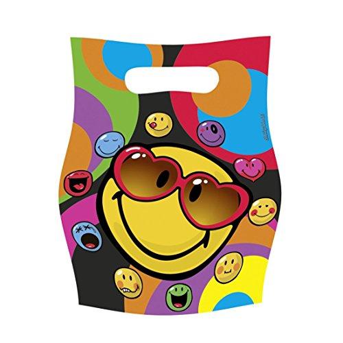 Smiley Party Tüten Partytüten 6 Stk. Motiv Plastiktüten Mitgebsel Partydeko Geschenktüten Kinder Kinderparty Tütchen Emoji Kindergeburtstag Tüte Dekoration Accessoires Partydekoration Geburtstag Kinder