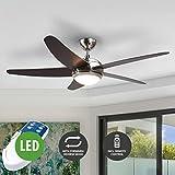 Lampenwelt LED Deckenventilator mit Lampe Fernbedienung (Modern) aus Holz u.a. für Wohnzimmer & Esszimmer (1 flammig, A++, inkl. Leuchtmittel) | Ventilator, Wohnzimmerlampe