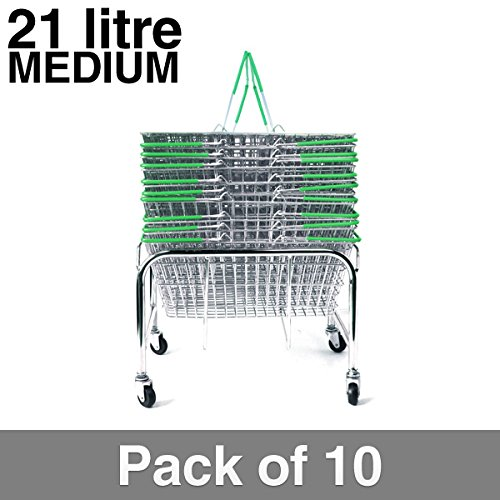 10 Green Wire Shopping Baskets with Mobile Basket Stacker